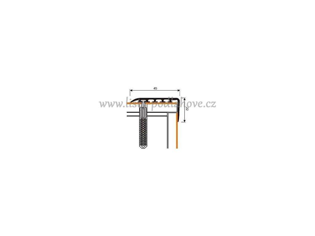 MYCK D-K0100 Plastový schodový profil 45x22mm - samolepící s hmoždinkou