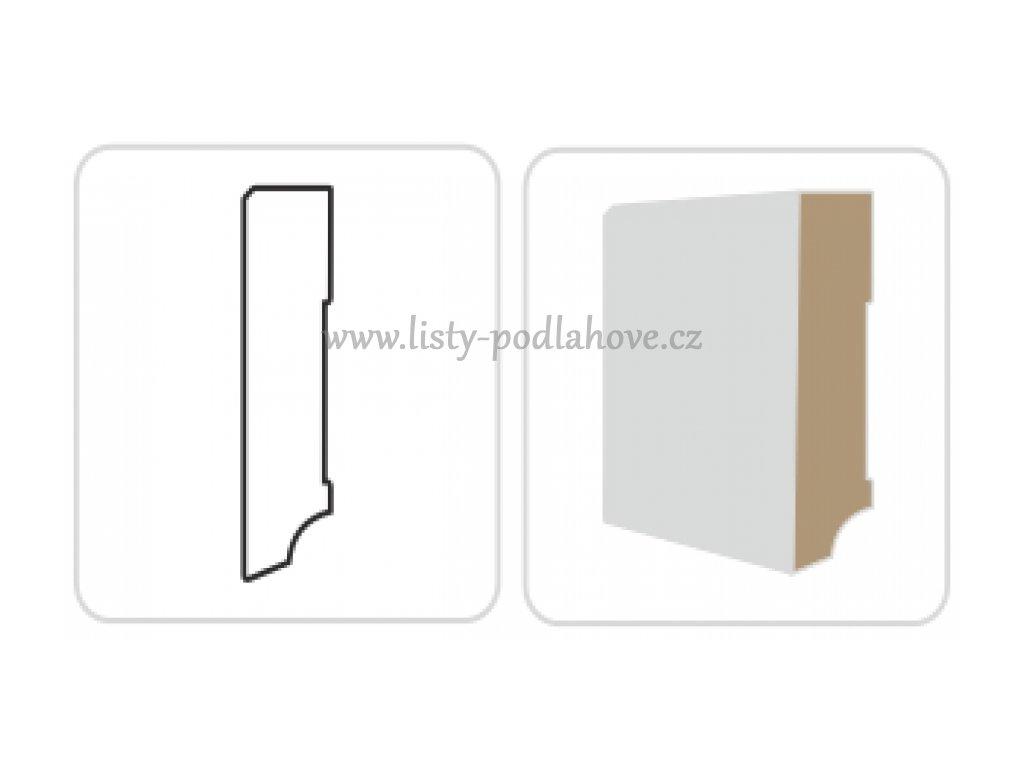 Soklová lišta KP 80 F bílá, hranatá, 240 cm