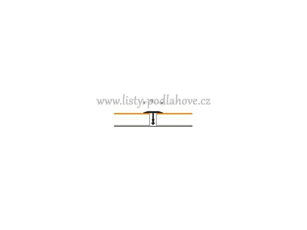 Spárovací profil T 13 mm ruční tvarování    Dub - Doprodej