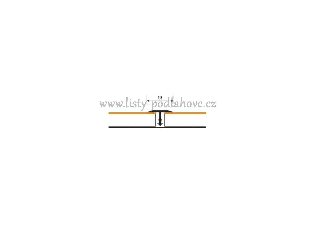 Spárovací profil T 18 mm ruční tvarování   Dub - Doprodej