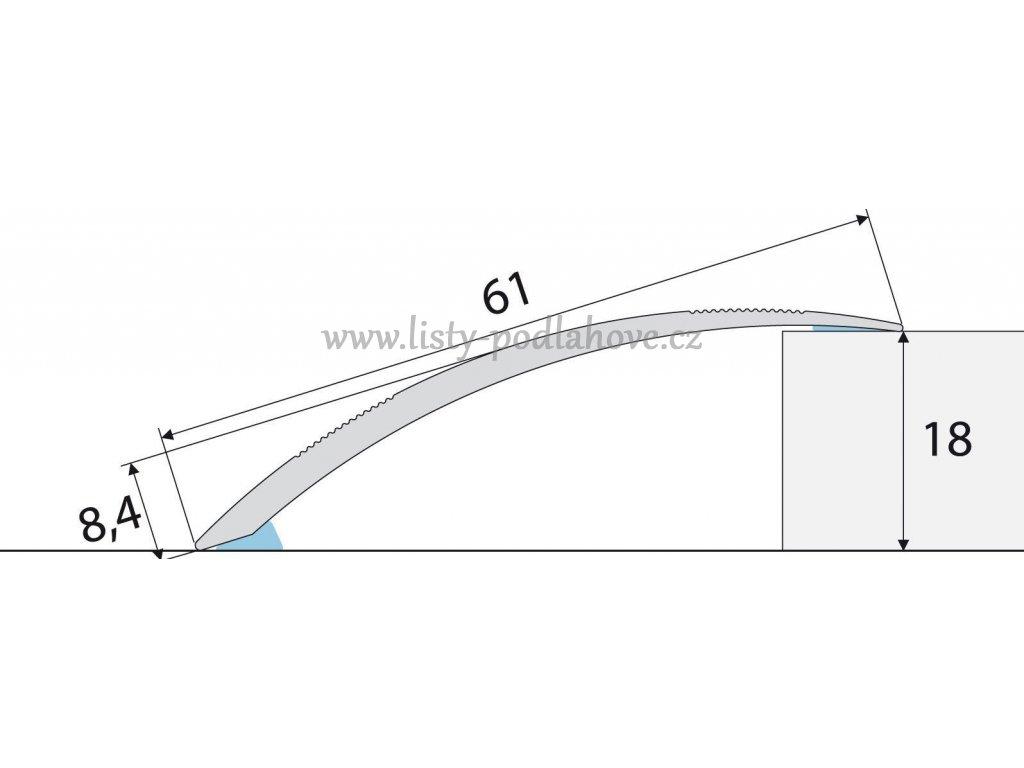 PROFIL Team - Přechodový profil 61 mm, oblý - samolepící
