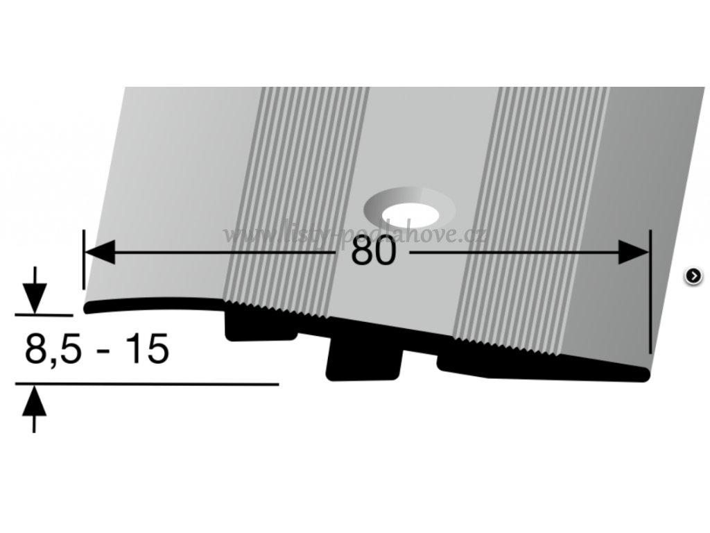 Küberit 268 S - Přechodový profil 80 mm, zátěž do 2 tun,  nájezdový, šroubovací