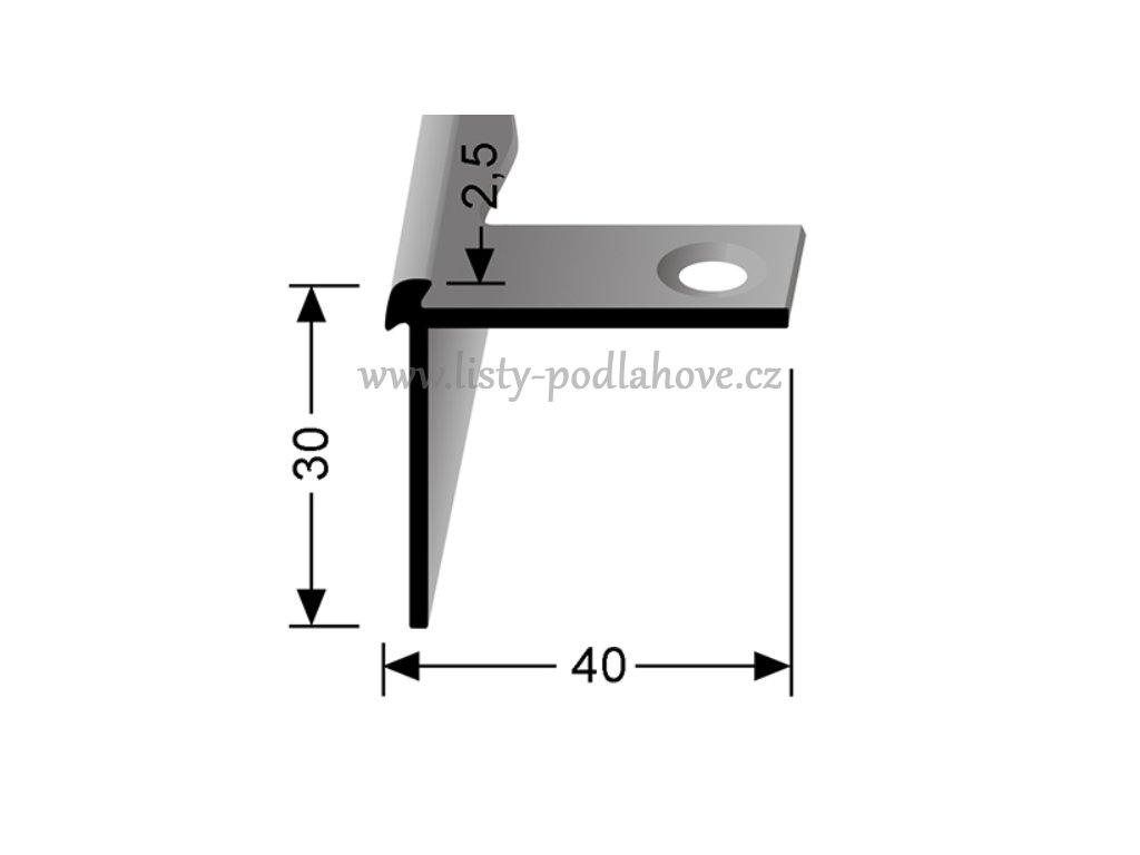 Küberit 870 EB - Ohýbací schodový oboustranný profil 2,5 mm   F4 Stříbro 250 cm