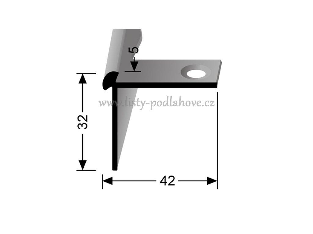 Küberit 873 EB - Ohýbací schodový oboustranný profil 5 mm | F2 Imitace nerezi  250 cm