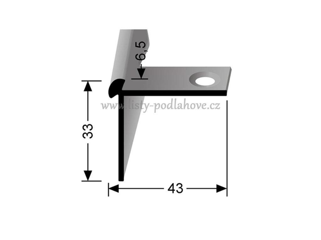 Küberit 874 EB - Ohýbací schodový oboustranný profil 6,5 mm | F2 Imitace nerezi  250 cm