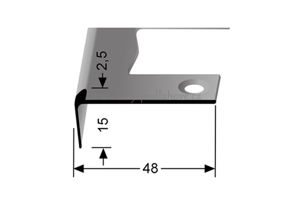 Küberit 859 EB - Ohýbací schodový jedostranný profil 2,5 mm | F2 Imitace nerezi  250 cm
