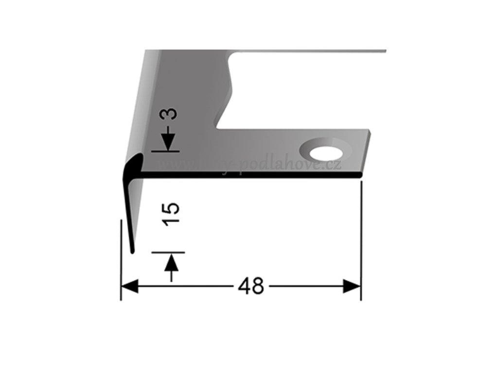 Küberit 860 EB - Ohýbací schodový jedostranný profil 3 mm | F2 Imitace nerezi  250 cm