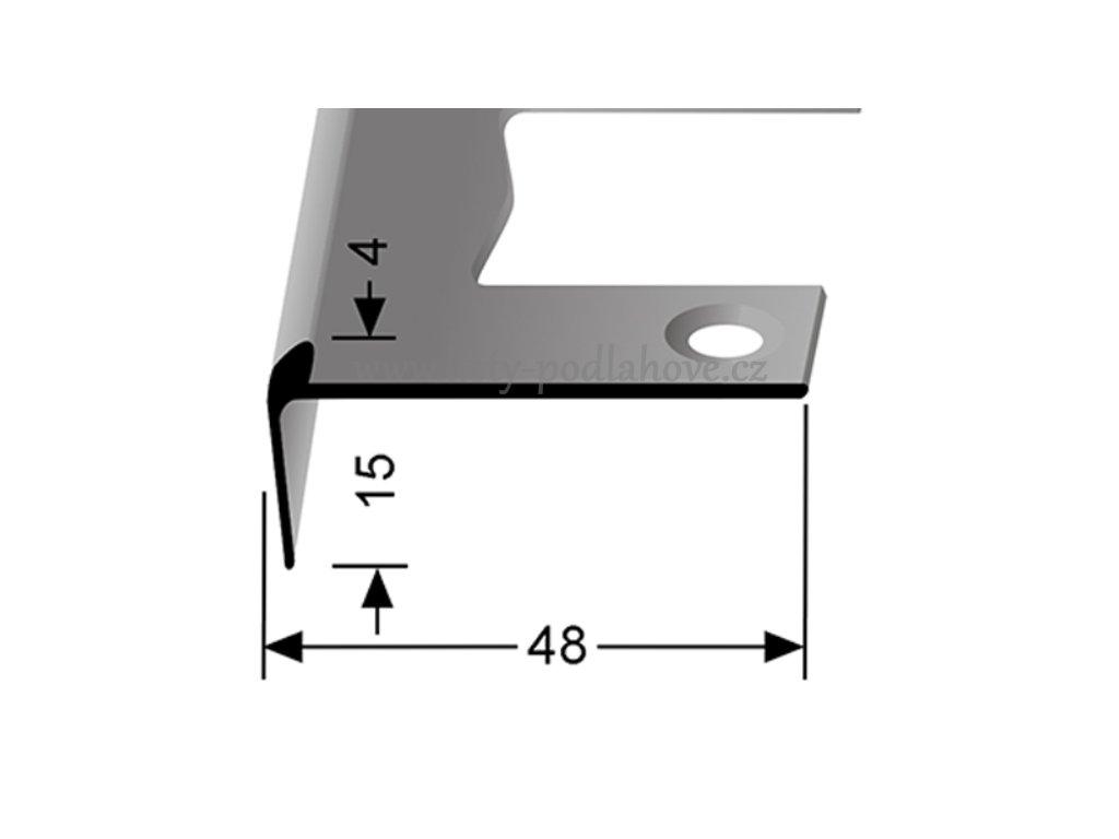 Küberit 861 EB - Ohýbací schodový jedostranný profil 4 mm   F2 Imitace nerezi  250 cm