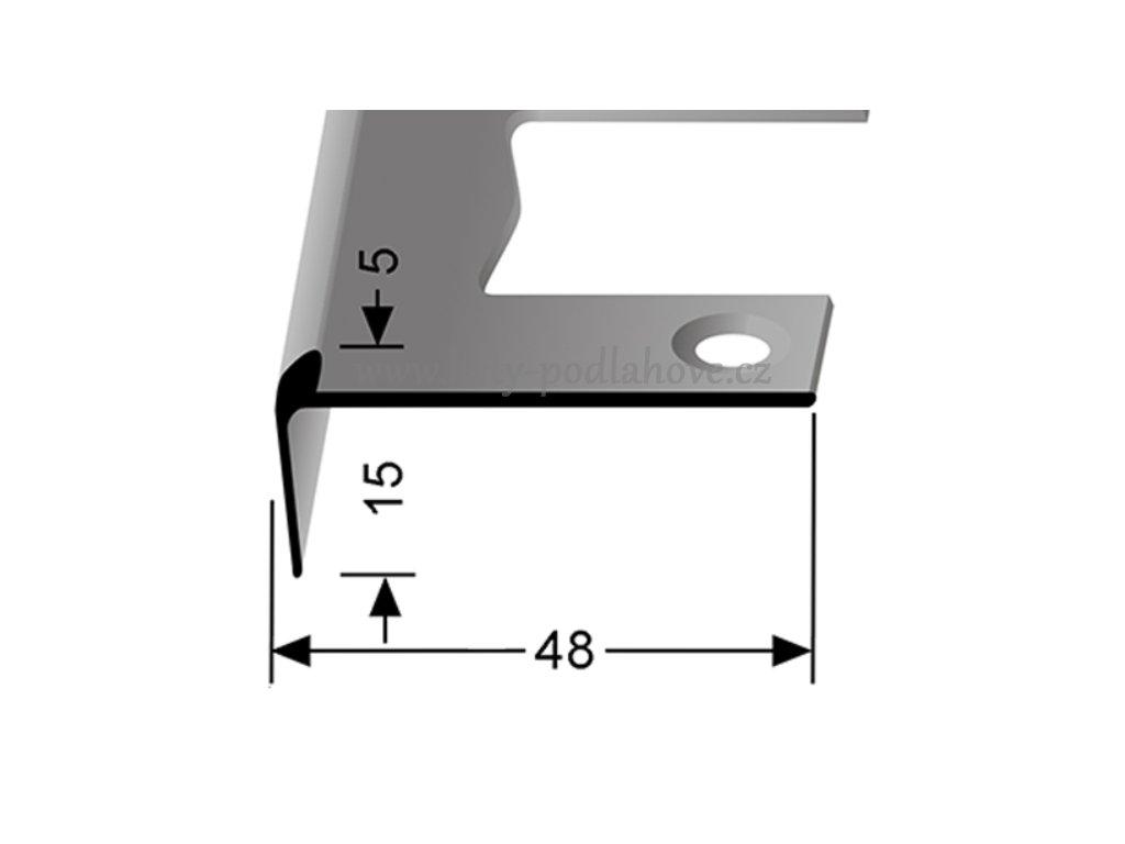 Küberit 863 EB - Ohýbací schodový jedostranný profil 5 mm   F2 Imitace nerezi  250 cm
