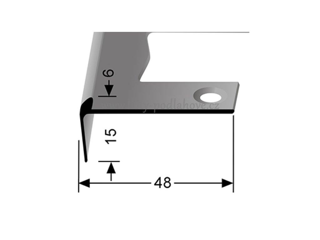 Küberit 864 EB - Ohýbací schodový jedostranný profil 6 mm   F2 Imitace nerezi  250 cm