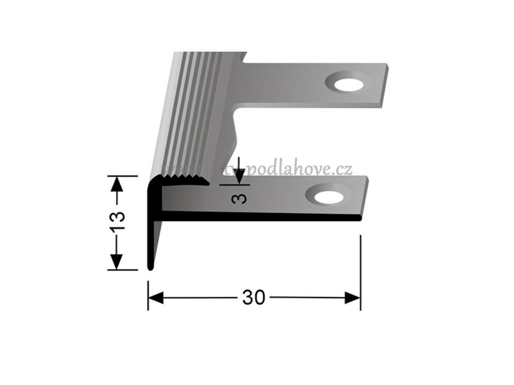 Küberit 809 EB - Ohýbací schodový zásuvný profil 3 mm   F2 Imitace nerezi  250 cm