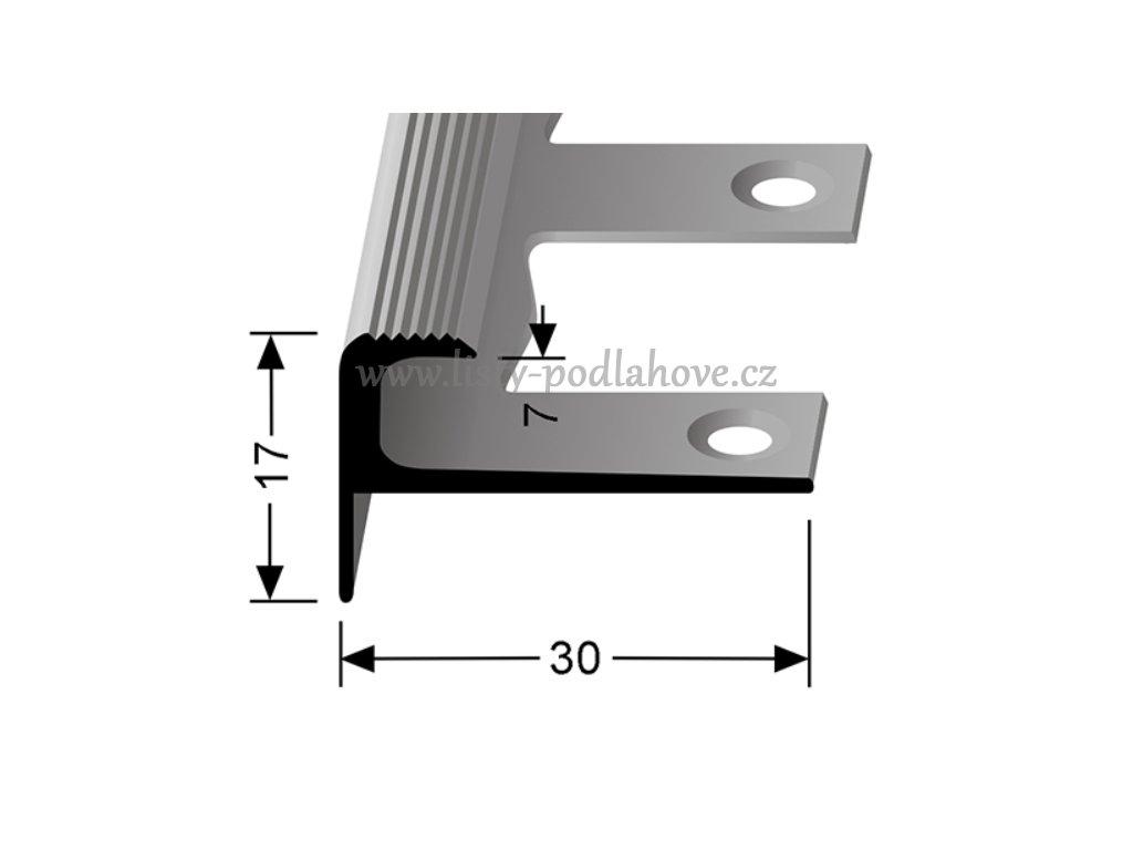 Küberit 808 EB - Ohýbací schodový zásuvný profil 7 mm | F2 Imitace nerezi  250 cm