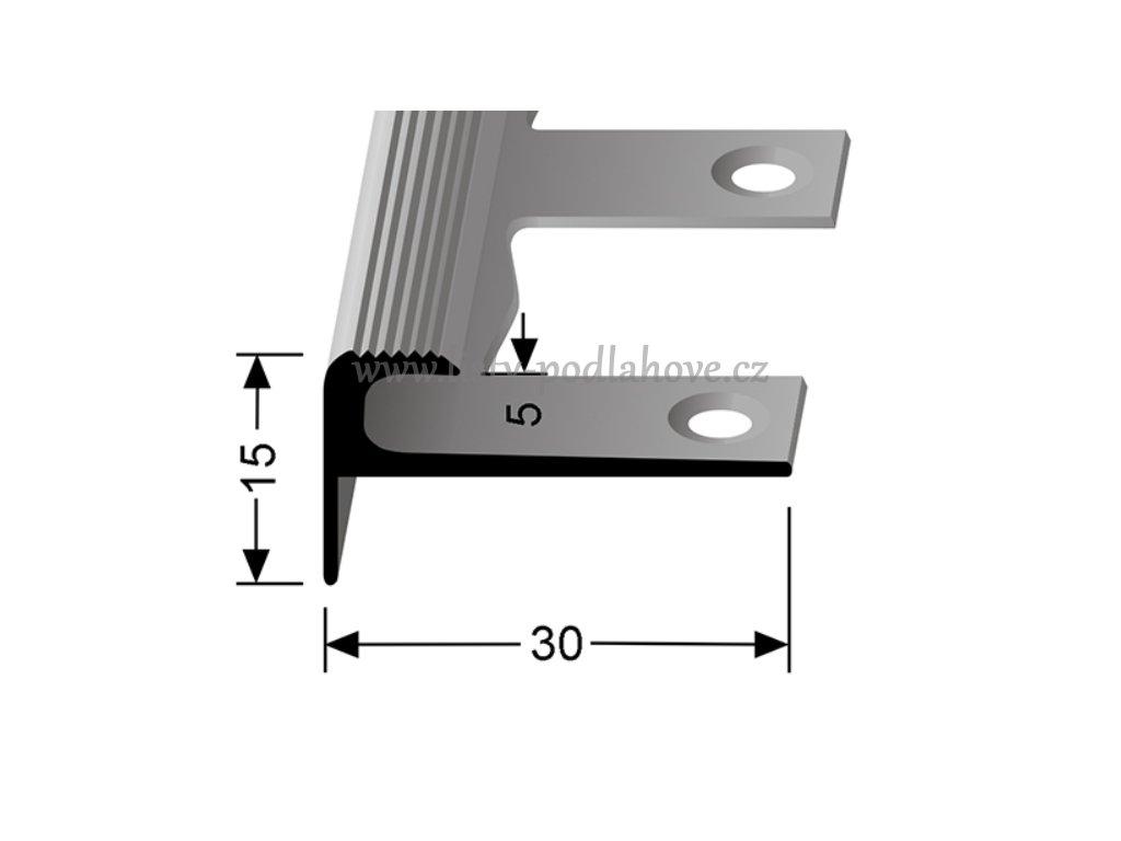 Küberit 807 EB - Ohýbací schodový zásuvný profil 5 mm | F4 Stříbro  250 cm