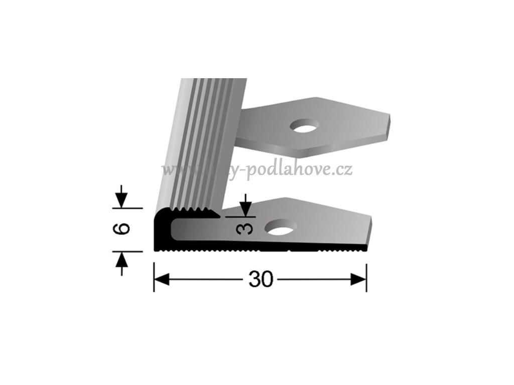 Küberit 804 EB - Ohýbací ukončovací profil drážkovaný 3 mm  F4 Stříbro  250 cm