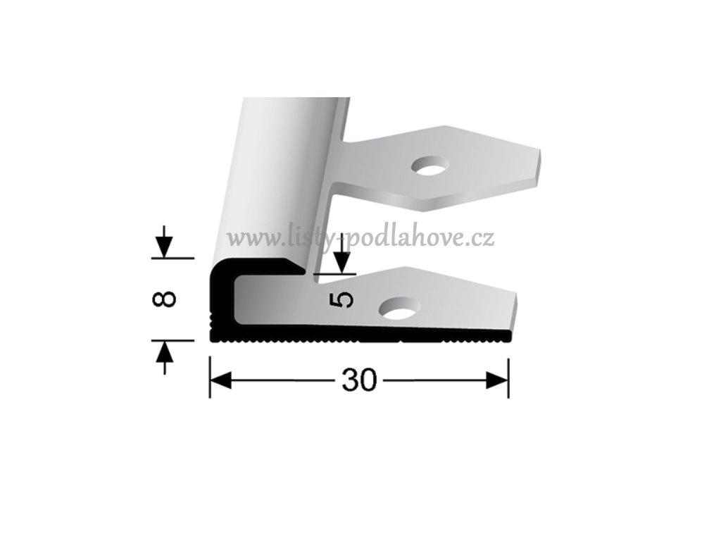 Küberit 802 EB - Ohýbací ukončovací profil hladký 5 mm   F4 Stříbro  250 cm