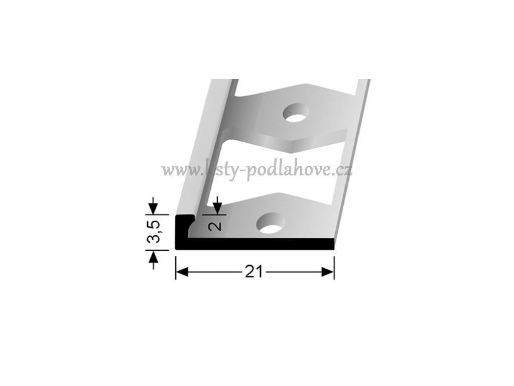 Küberit 299 G  - Ohýbací ukončovací profil L 2 mm | F4 Stříbro  250 cm