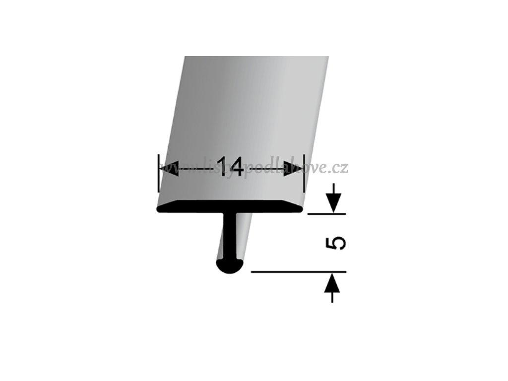 Küberit 290  - Ohýbací přechodový profil T 14 x 6 mm   F4 Stříbro  270 cm