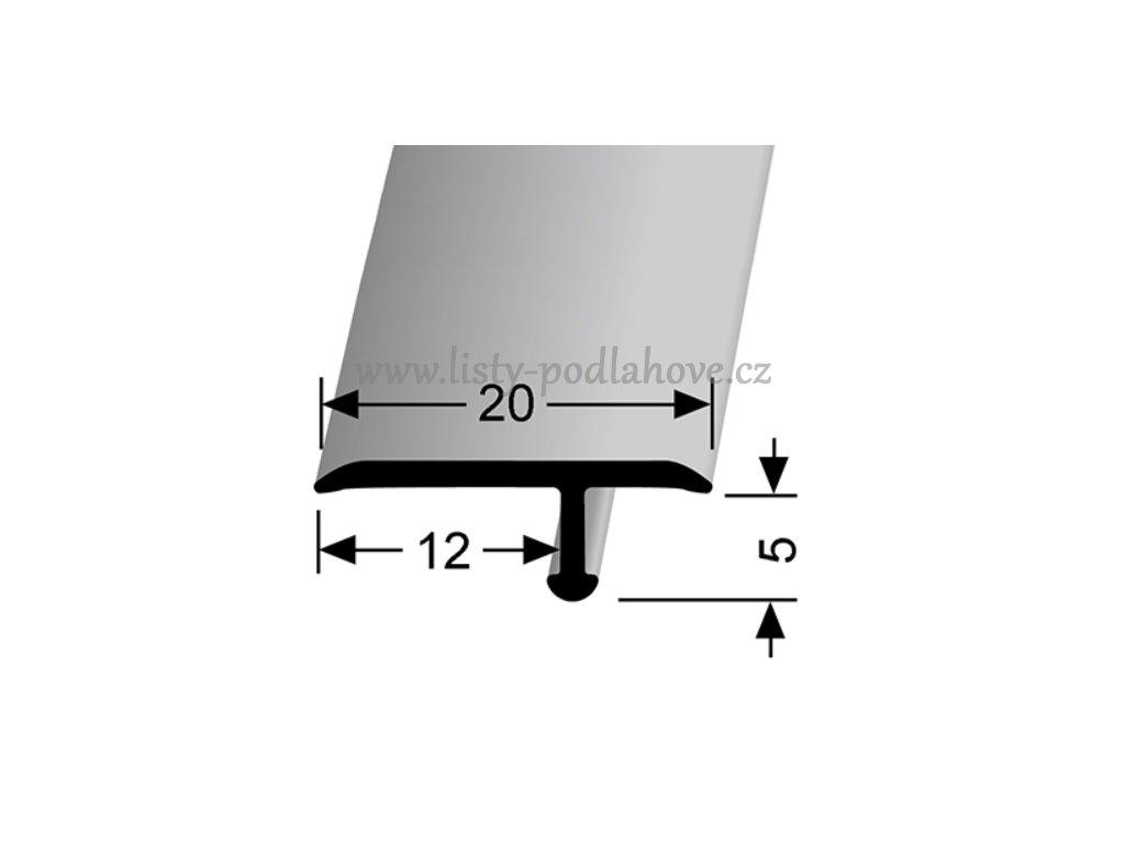 Küberit 291  - Ohýbací přechodový profil T 20 x 6 mm   F4 Stříbro  270 cm