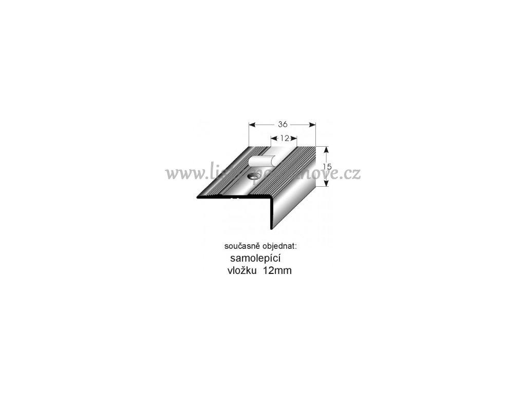 Schodový profil  15 x 36 mm, šroubovací