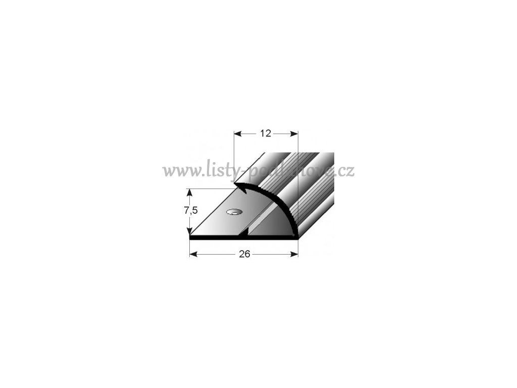 Jednoduchý svěrný profil  12 mm, vrtaný
