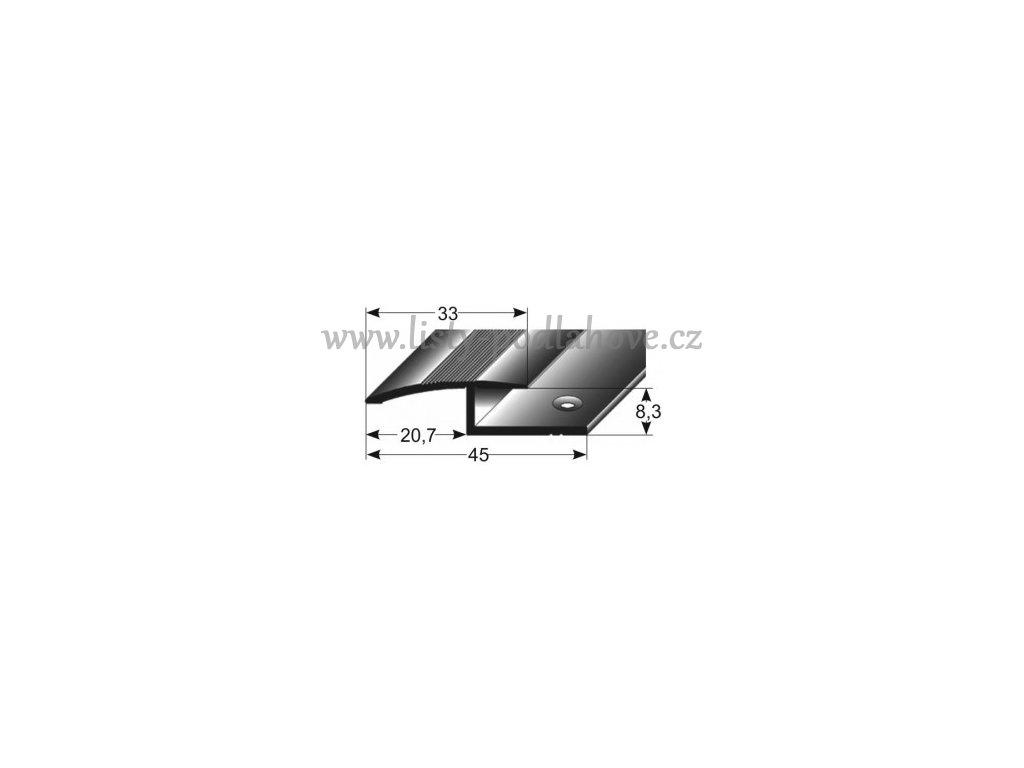 Vyrovnávací profil  33 x 8,3 mm, vrtaný