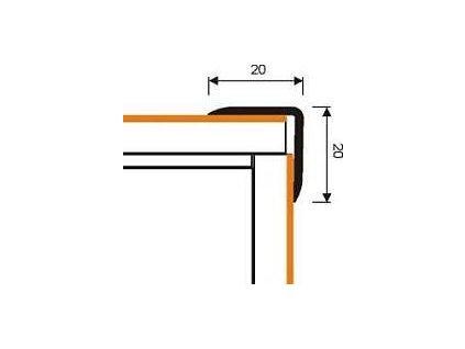 MYCK D-K0500 Plastový schodový profil 20x20mm  - samolepící s hmoždinkou