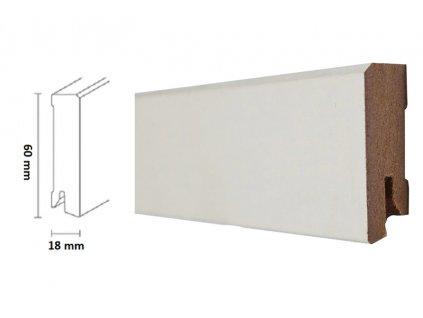 Döllken - Soklová lišta MDF White & Black Cubica 60mm, bílá matná, 250 cm