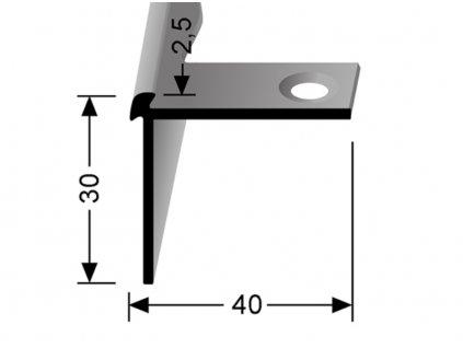 Küberit 870 EB - Ohýbací schodový oboustranný profil 2,5 mm   F2 Imitace nerezi  250 cm