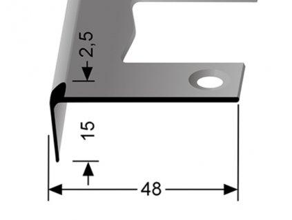 Küberit 859 EB - Ohýbací schodový jedostranný profil 2,5 mm   F2 Imitace nerezi  250 cm