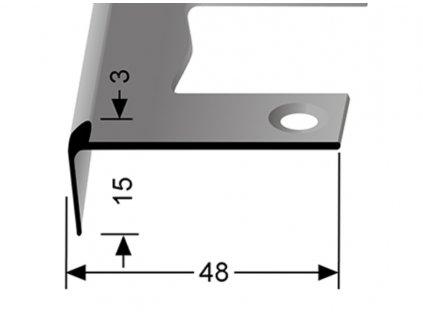 Küberit 860 EB - Ohýbací schodový jedostranný profil 3 mm   F4 Stříbro  250 cm
