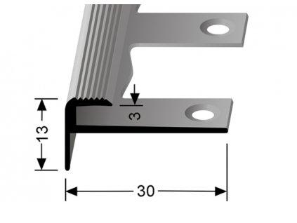 Küberit 809 EB - Ohýbací schodový zásuvný profil 3 mm | F2 Imitace nerezi  250 cm