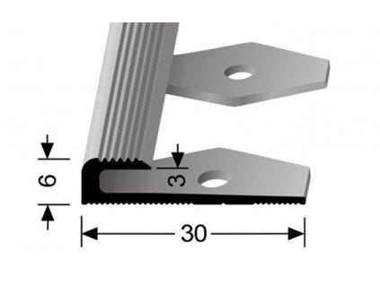 Küberit 804 EB - Ohýbací ukončovací profil drážkovaný 3 mm |F4 Stříbro  250 cm