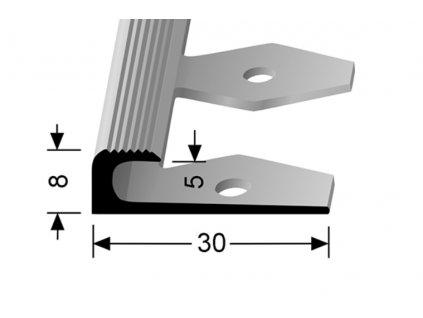 Küberit 806 EB - Ohýbací ukončovací profil drážkovaný 5 mm |F4 Stříbro  250 cm