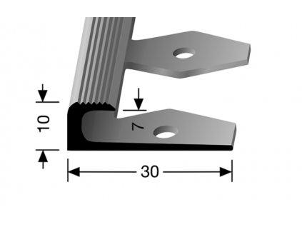 Küberit 805 EB - Ohýbací ukončovací profil drážkovaný 7 mm |F4 Stříbro  250 cm