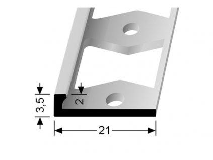 Küberit 299 G  - Ohýbací ukončovací profil L 2 mm   F4 Stříbro  250 cm