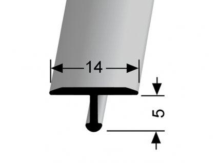 Küberit 290  - Ohýbací přechodový profil T 14 x 6 mm | F4 Stříbro  270 cm