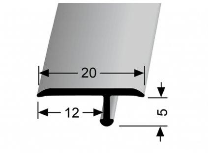 Küberit 291  - Ohýbací přechodový profil T 20 x 6 mm | F4 Stříbro  270 cm