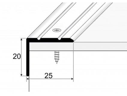 PROFIL Team - Schodová hrana 25 x 20 mm, šroubovací