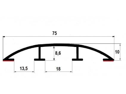 Přechodový profil hliníkový pro vedení kabelů 75 mm, oblý - samolepící