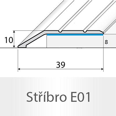 PROFIL Team - Ukončovací nájezd 8 mm, samolepící Barva dekoru: stříbro E01, Délka lišty: 270 cm