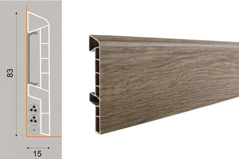 PVC soklová lišta ASPRO Q ořech W8 (250 cm)