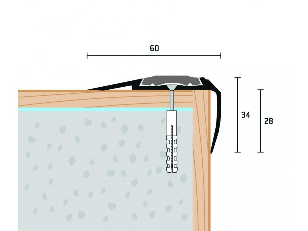 Schodová hrana s vložkou 60x34