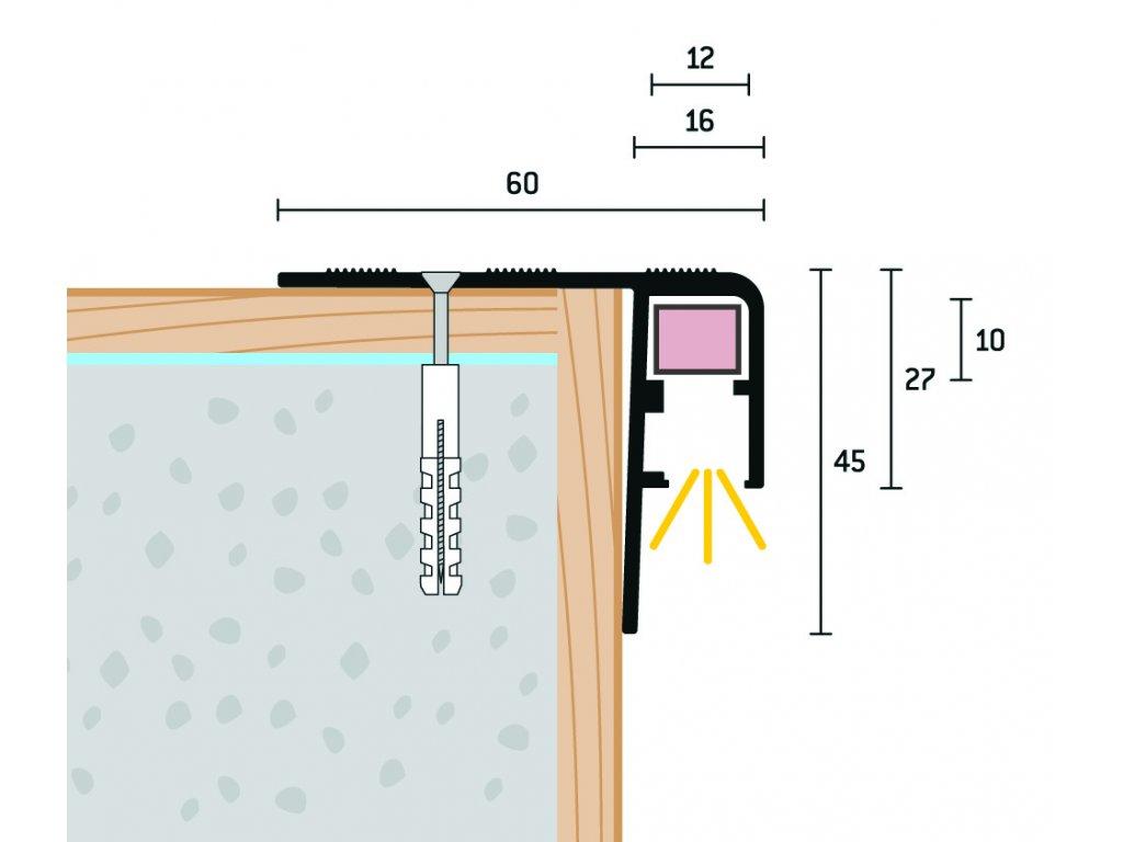 Schodový profi pre LED 60x45