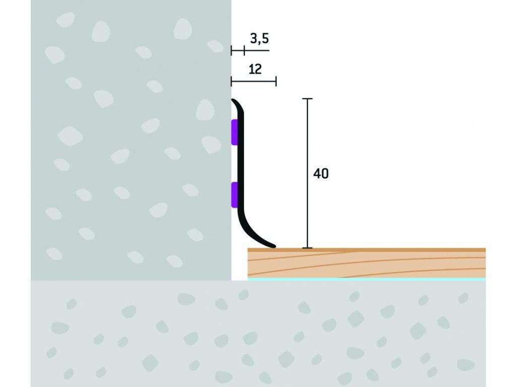 Soklový profil samolepiaci 40x12