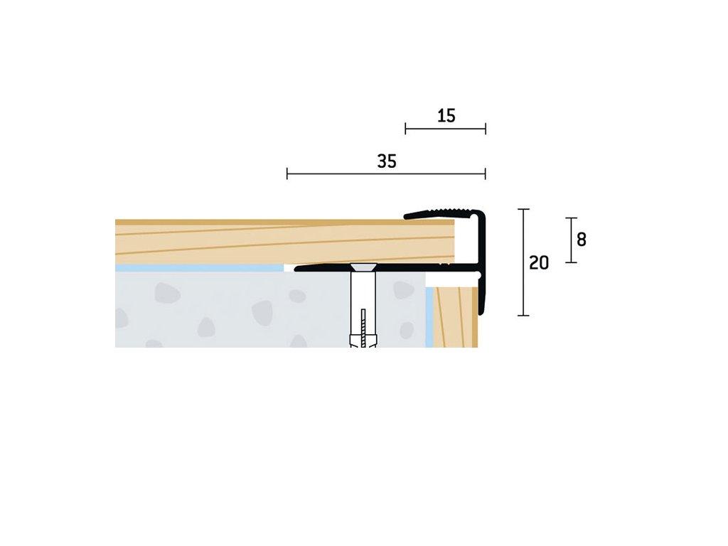 35x20x8 mm | Schodový profil