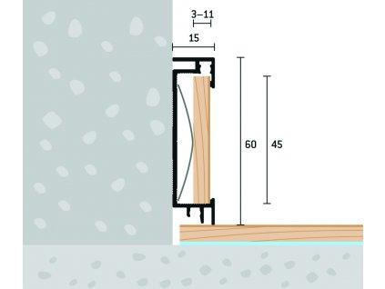 Soklový profil s vložkou 60x15