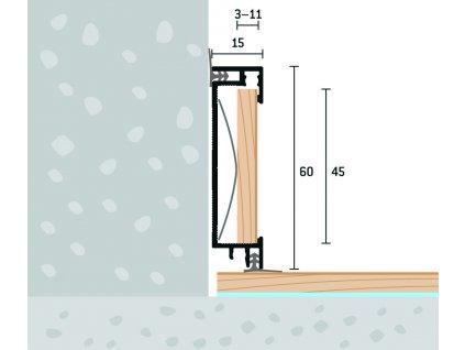 Soklový profil s vložkou a tes.gumou 60x15