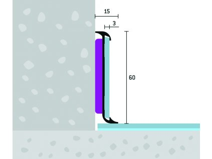 Obojstranný soklový profil 60x15