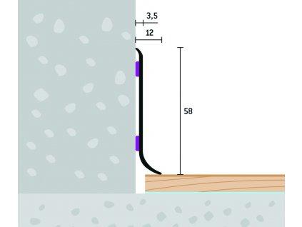 Soklový profil samolepiaci 58x12