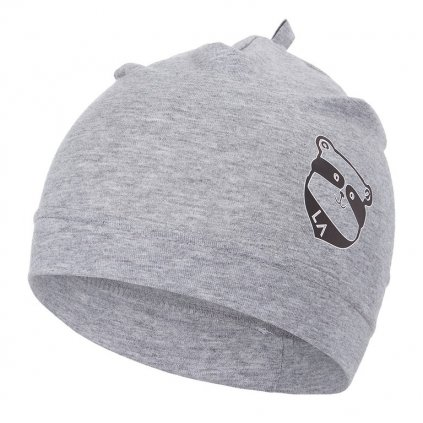 Mütze dünn Motiv Outlast® - grau meliert/Waschbär (Größe 1 | 36-38 cm)